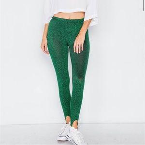Green Glitter Stirrup Festive Leggings